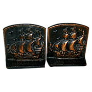 Bronze Finish Clipper Ship Book Ends
