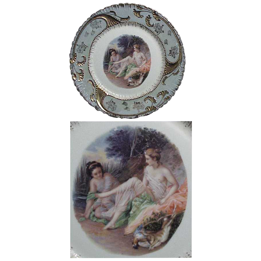 1900's Great Art Nouveau Portrait Plate w/ Green Luster Border