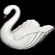 Cream Lenox Nut / Candy Swan Dish w/ Gold Trim & Green Mark
