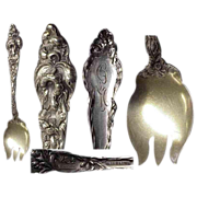 Heavy Fancy Les Six Fleurs  Sterling Silver Ice Cream Fork