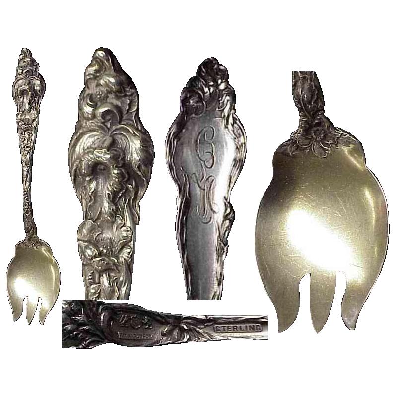 Heavy Fancy Les Six Fleurs  Sterling Silver Ice Cream Fork