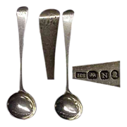 Pair of Georgian Sterling Salt Spoons Ca 1808
