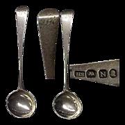 Pair of Georgian Sterling Salt Spoons Ca 1808