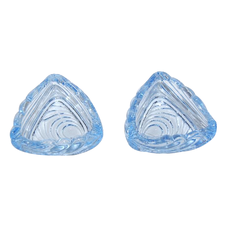 Cambridge Moonlight Blue Caprice Glass Triangle Shaped Dish /Ashtray