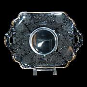 Wildflower by Cambridge Crystal Glass Handled Bon Bon Dish w/ Gold Trim
