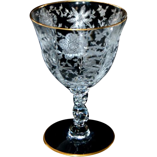 "Wildflower by Cambridge Crystal Glass 4 1/2"" oz. Oyster / Fruit  Cocktail w/ Gold Trim"