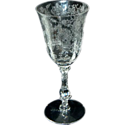 "Cambridge Glass Crystal Rosepoint Etch 6 1/4"" / 3 1/2 oz Claret Wine"