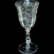 "Cambridge Glass Crystal Rosepoint Etch 6 1/4"" / 3 1/2 oz Claret Wine"
