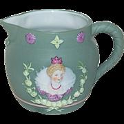 1890's Small German Jasperware Spouted Pitcher Queen Elizabeth l