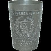 Circa 1900's Pewter German Souvenir Tumbler / Beaker