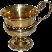 Wonderful French Silver Gold Vermeil Cup w/ Warrior wearing Helmet on Handle