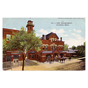 Jackson Michigan Fire Department Postcard