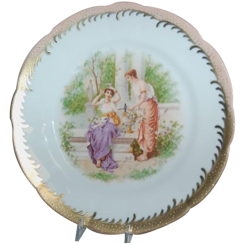 1900's Beautiful Saxe Germany Plate w/ Grecian Ladies