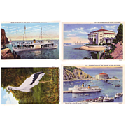 4 Nice 1930's Postcards from Catalina Island California