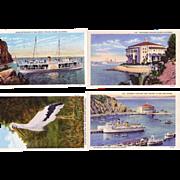 4 Nice 1930's Postcards from Catalina Island California