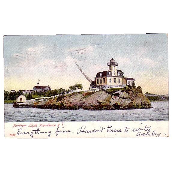 "1906 Lighthouse Postcard ""Pomham Light Providence R.I. """