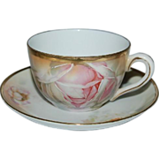 E S Germany Floral w/ Roses Cup & Saucer