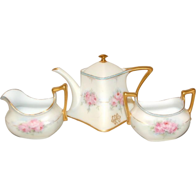 1900's RS Tillowitz Germany Floral Decorated Tea Set with Tea Pot Sugar & Creamer