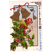 Christmas Postcard Old Santa & Christmas Holly