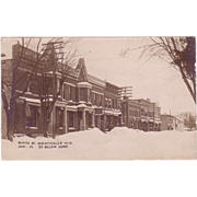 "RPPC Postcard w/ Photographic Image of ""Main Street Monticello Wisconsin"" at 30 below in 1910"