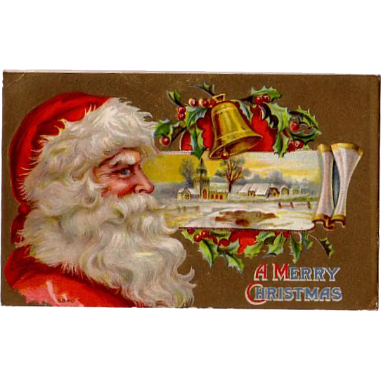 "Christmas Postcard  postmarked 1910 ""Portrait of Wise Old Santa"""
