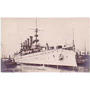 "RPPC Postcard with Photographic Image of ""USS Pennsylvania"""