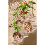 """Christmas Postcard with """" Little Winged Angels Heads  """""""