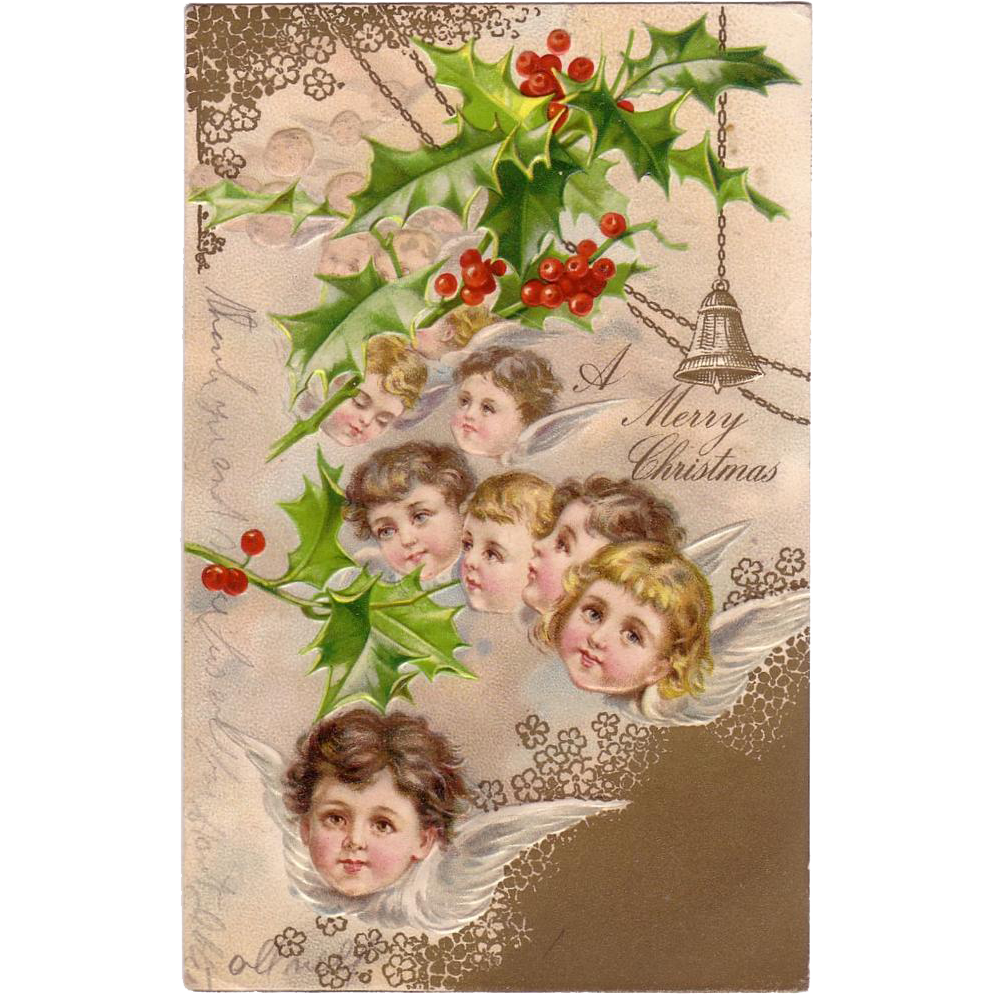 "Christmas Postcard with "" Little Winged Angels Heads  """
