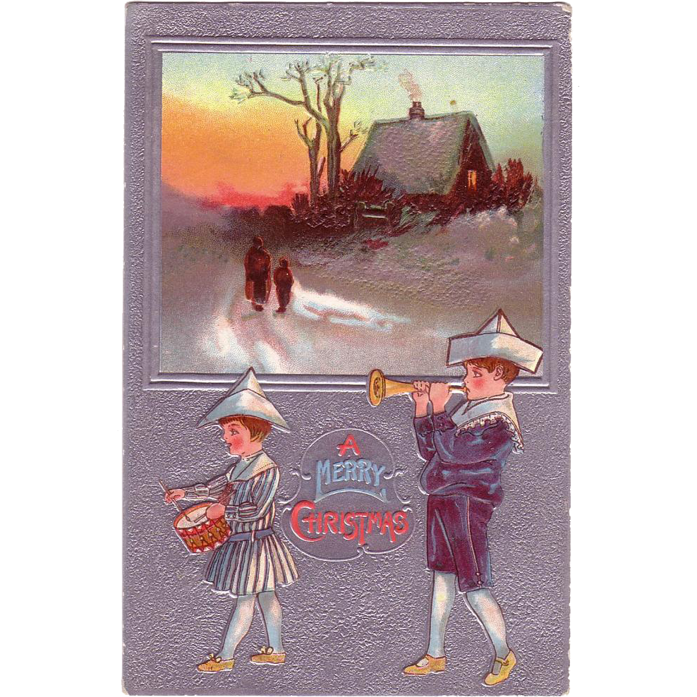 "Christmas Postcard  "" Little Girl Drummer & Little Boy Bugle Player"""