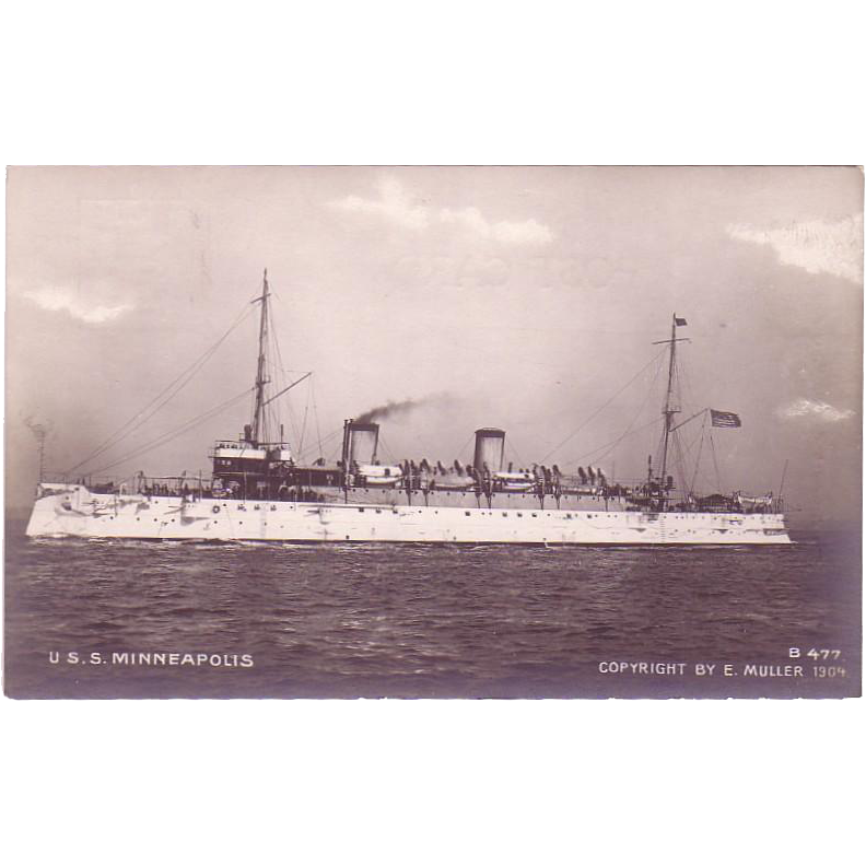 "RPPC "" USS Minneapolis "" Postcard"