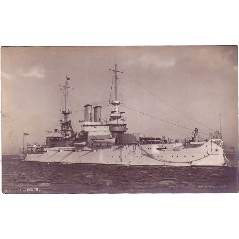 """RPPC   """" Battleship USS Illinois """" Postcard"""