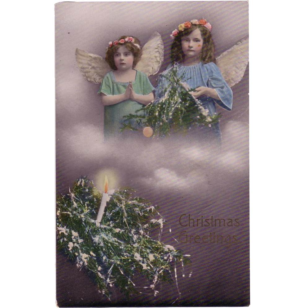 "Christmas Postcard with "" Two Darling Little Angels in the Clouds"""""