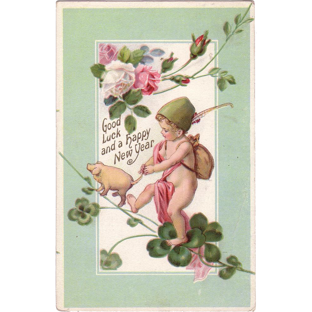 "New Years Postcard "" Baby Boy with Piglet """