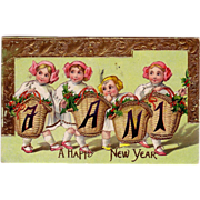 "1912 New Years Postcard & "" A Happy New Year "" Greeting"