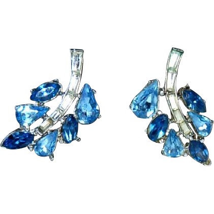Trifari Clip Earrings with Blue & Clear Stones