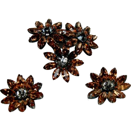 Fine Vintage Weiss Parue, Brooch & pair of Earrings