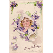Valentine Postcard w/Violets and a Little Girl