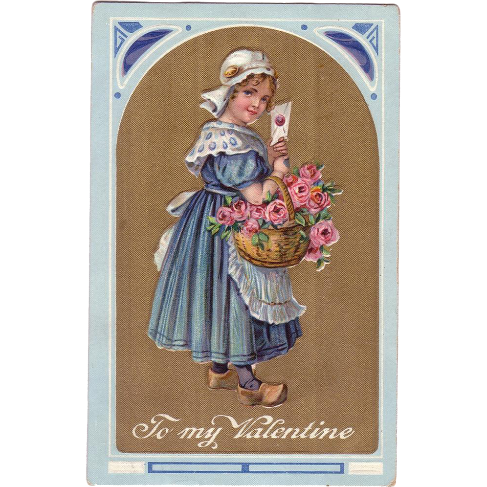 Valentine Postcard w/Dutch Girl