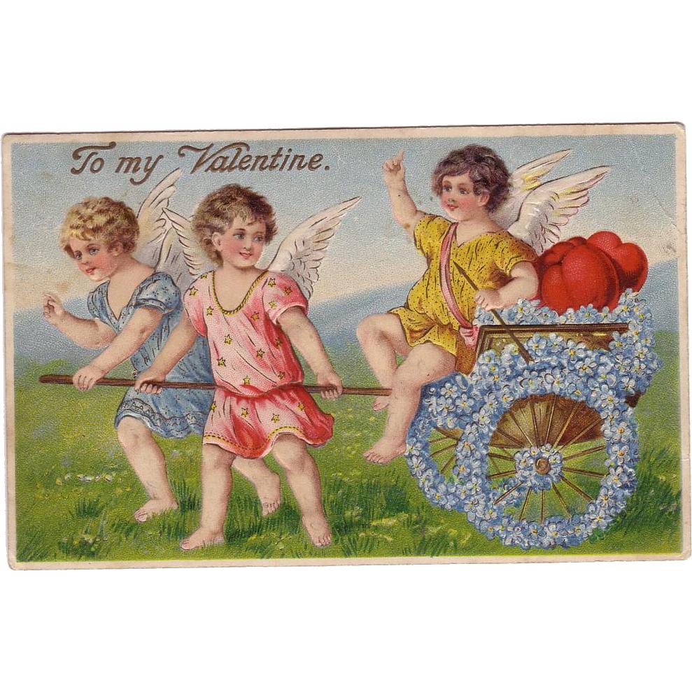 Valentine Postcard of Three Angels