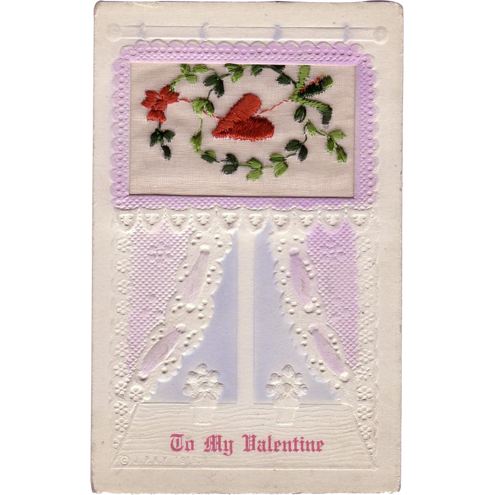Rare Embroidered Valentine Postcard
