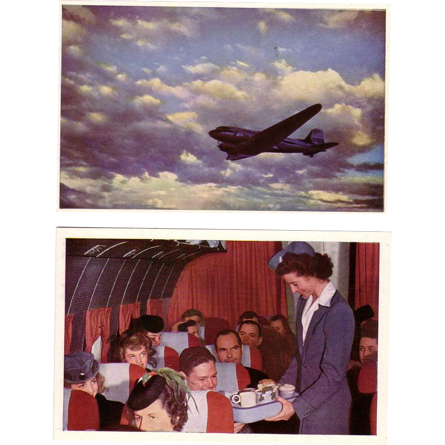 (2) United Airline Older Postcards