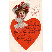 Large Heart Valentine Postcard with Beautiful Brunette Lady