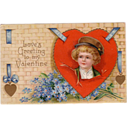 Germany Valentine Postcard w/ Boy on Red Heart