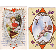 (2) Valentine Postcards with Love's Cupids