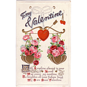 1910's Valentine Postcard with Love's Scales of Beautiful Red Roses