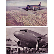 (2) United Airline Late 1930's Postcards
