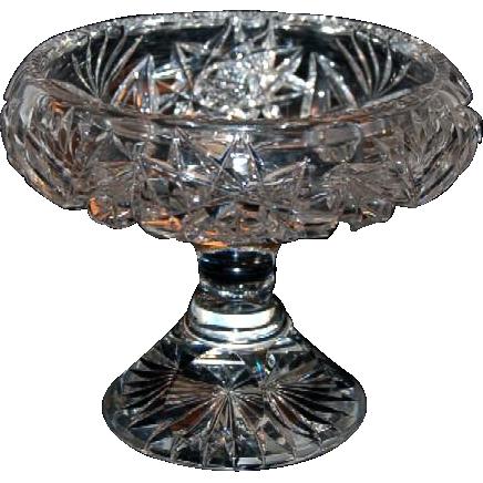 1890's Heavy Brilliant Period Cut Glass Compote