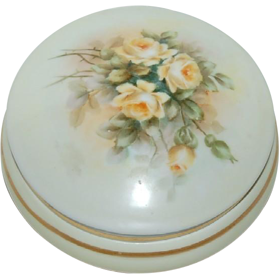Hand Painted Bavarian Powder Box w/ Beautiful Yellow Roses
