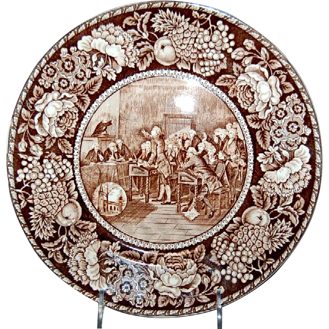 "Brown & White Historical Plate of ""Patrick Henry"""