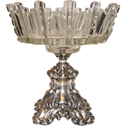 Antique Austrian Cut Glass Monteith Bowl w/ Sterling Ornate Base